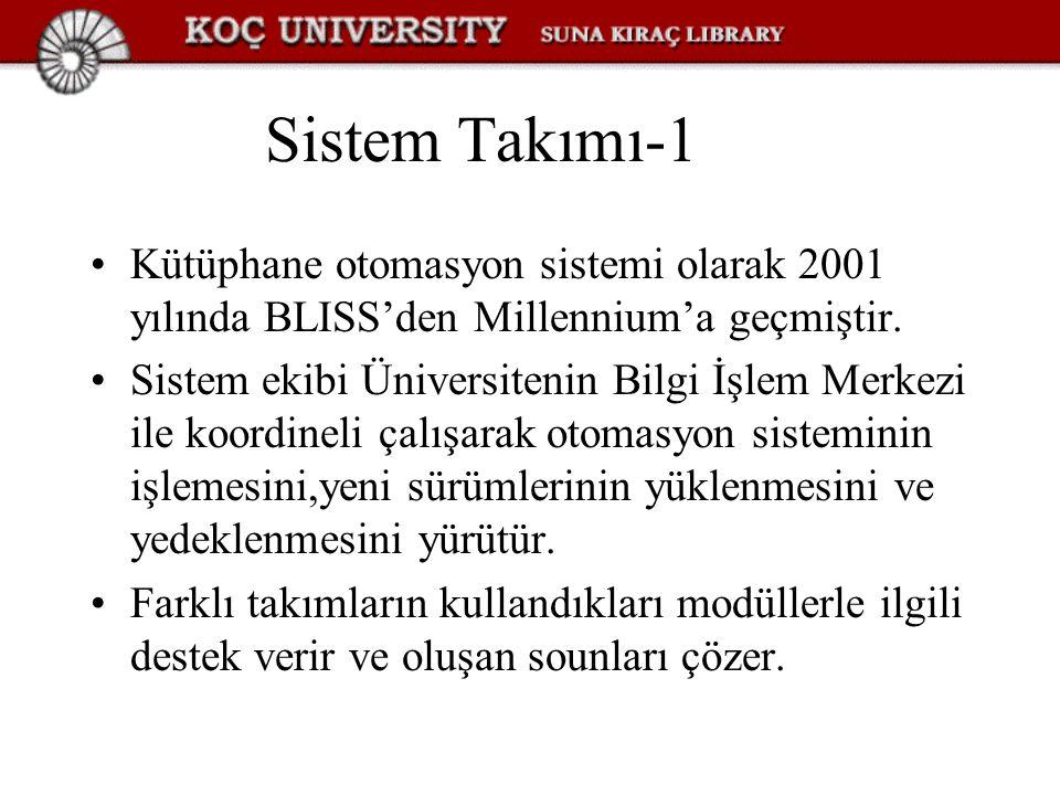 Sistem Takımı-1 Kütüphane otomasyon sistemi olarak 2001 yılında BLISS'den Millennium'a geçmiştir.