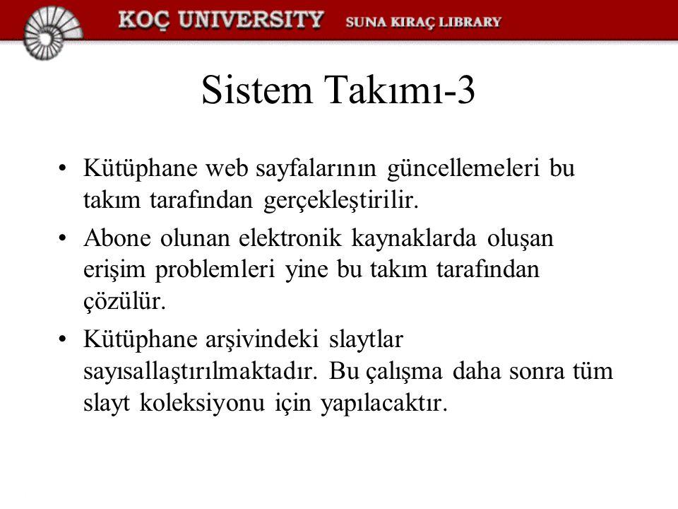 Sistem Takımı-3 Kütüphane web sayfalarının güncellemeleri bu takım tarafından gerçekleştirilir.