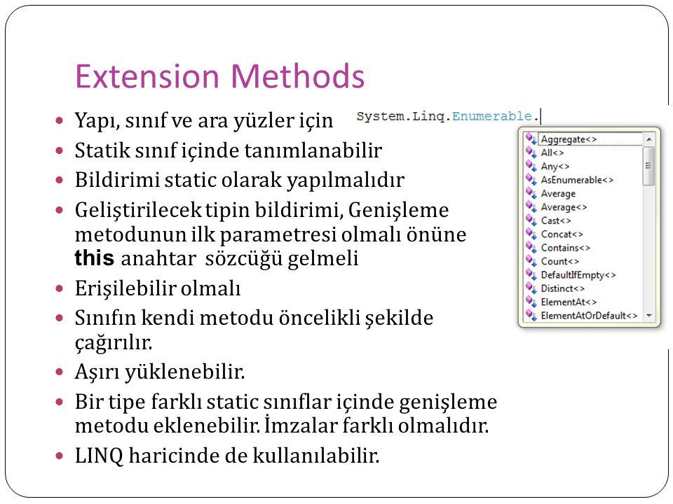 Extension Methods Yapı, sınıf ve ara yüzler için