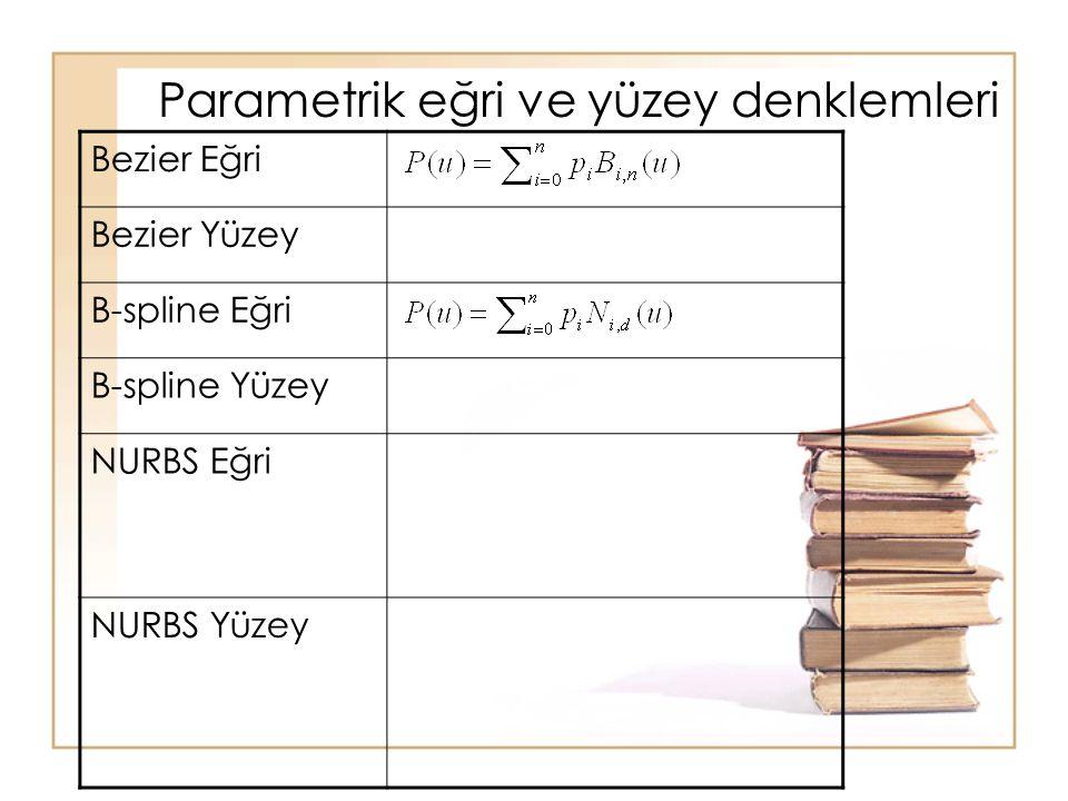 Parametrik eğri ve yüzey denklemleri