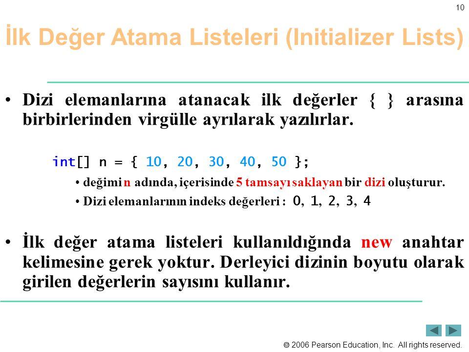İlk Değer Atama Listeleri (Initializer Lists)