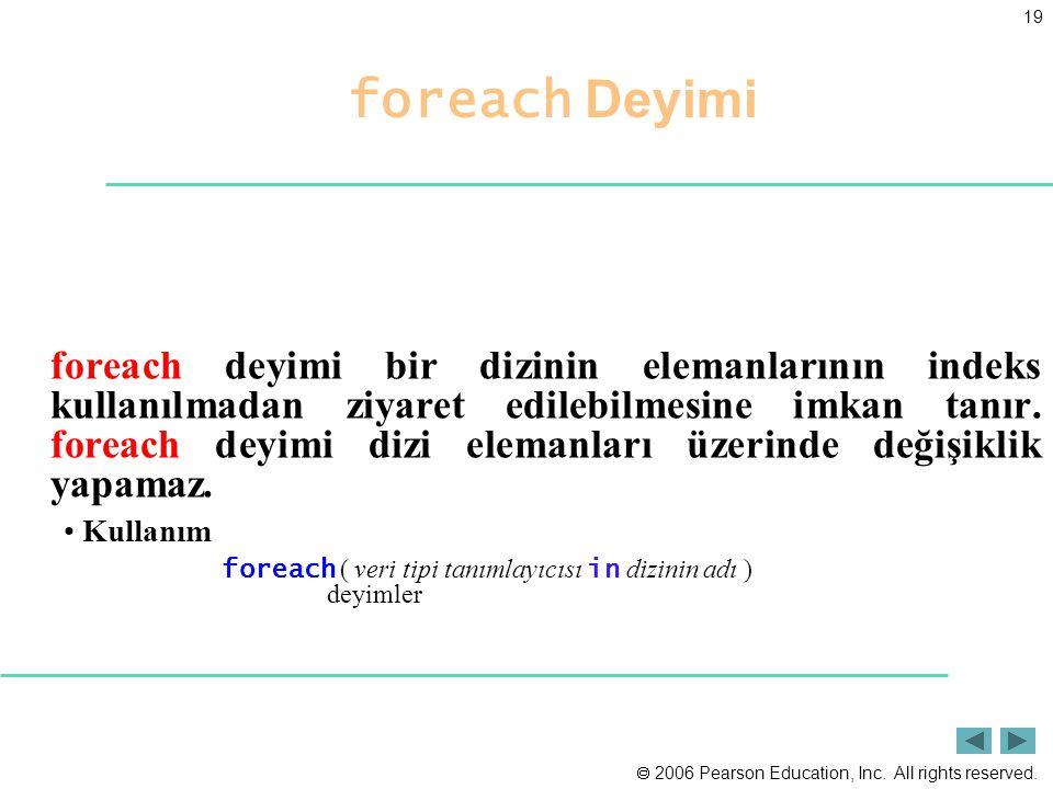 foreach Deyimi