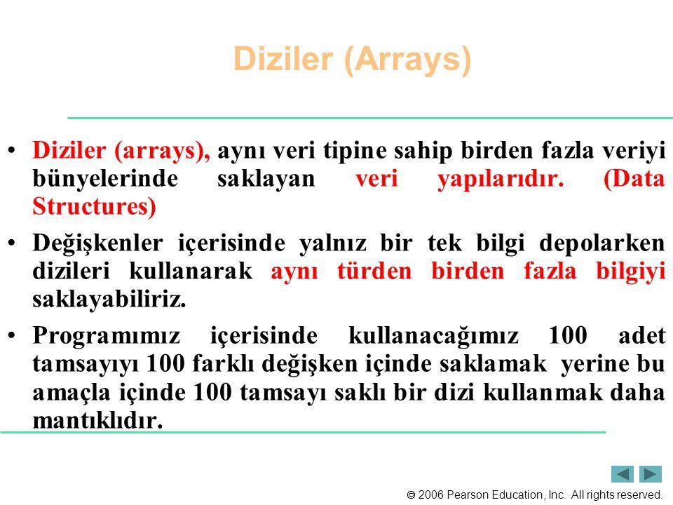 Diziler (Arrays) Diziler (arrays), aynı veri tipine sahip birden fazla veriyi bünyelerinde saklayan veri yapılarıdır. (Data Structures)