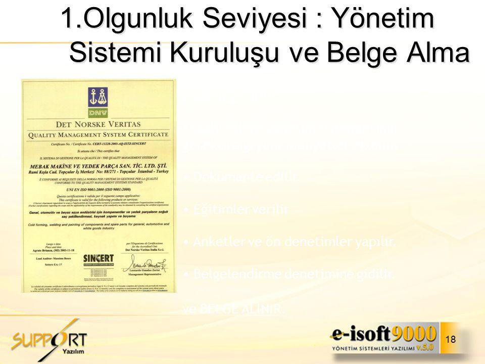 1.Olgunluk Seviyesi : Yönetim Sistemi Kuruluşu ve Belge Alma