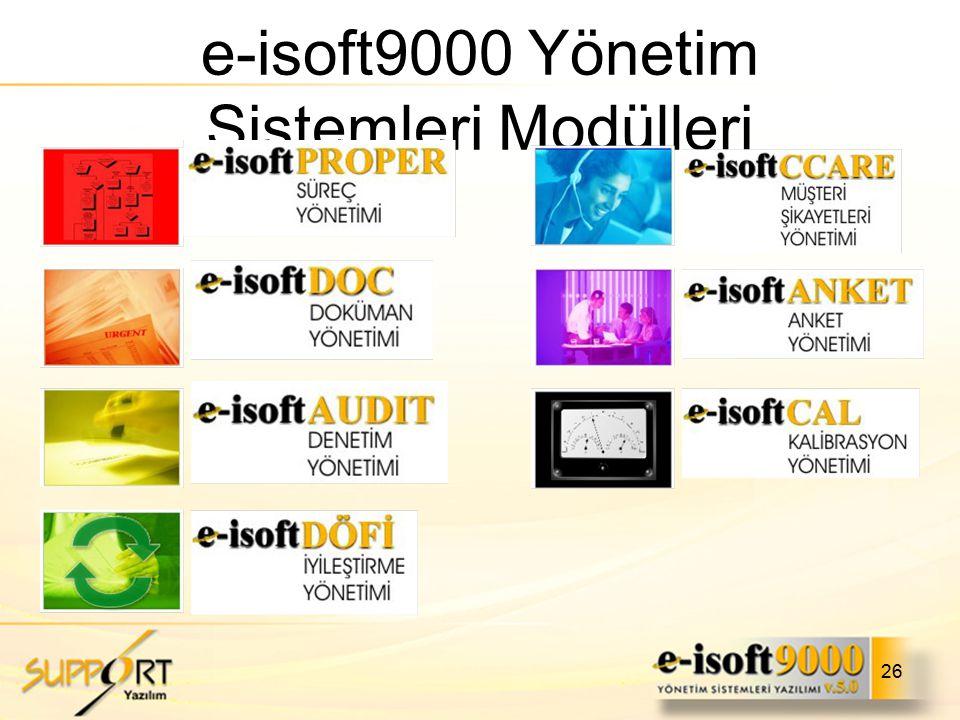 e-isoft9000 Yönetim Sistemleri Modülleri