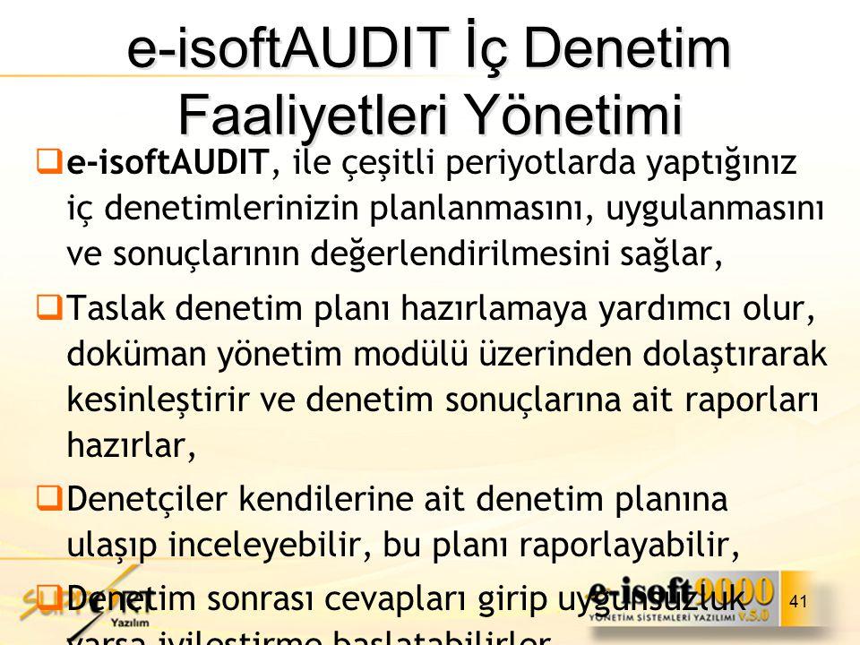 e-isoftAUDIT İç Denetim Faaliyetleri Yönetimi