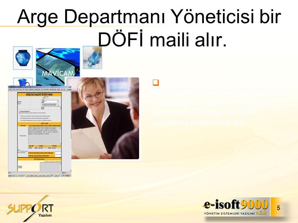 Arge Departmanı Yöneticisi bir DÖFİ maili alır.