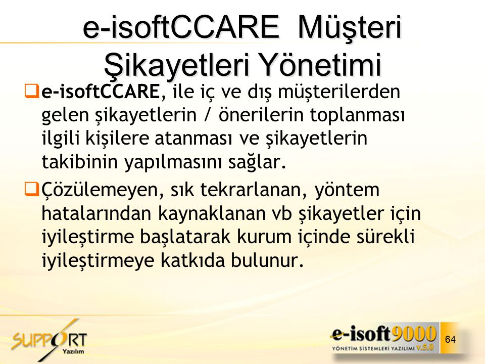 e-isoftCCARE Müşteri Şikayetleri Yönetimi
