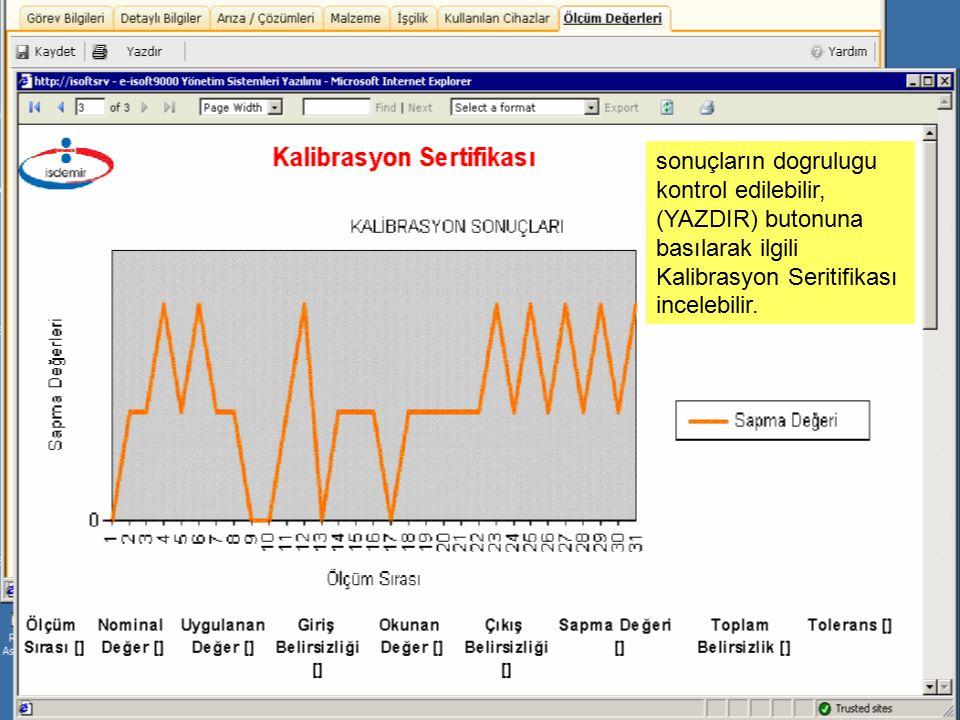 sonuçların dogrulugu kontrol edilebilir, (YAZDIR) butonuna basılarak ilgili Kalibrasyon Seritifikası incelebilir.