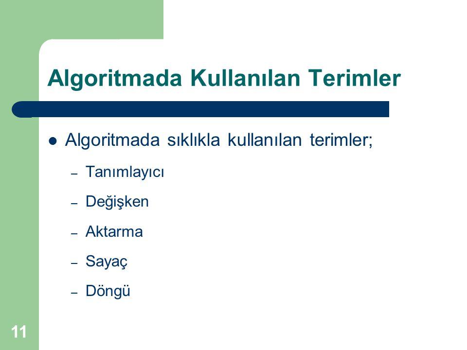 Algoritmada Kullanılan Terimler