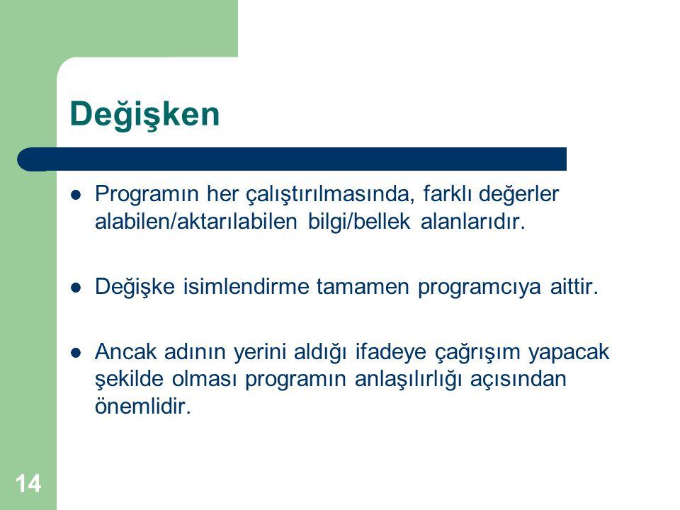Değişken Programın her çalıştırılmasında, farklı değerler alabilen/aktarılabilen bilgi/bellek alanlarıdır.