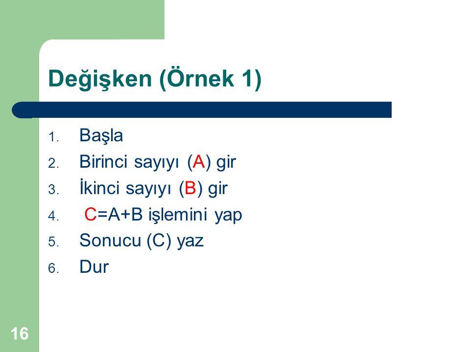 Değişken (Örnek 1) Başla Birinci sayıyı (A) gir İkinci sayıyı (B) gir