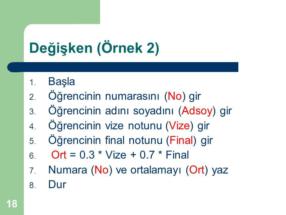 Değişken (Örnek 2) Başla Öğrencinin numarasını (No) gir