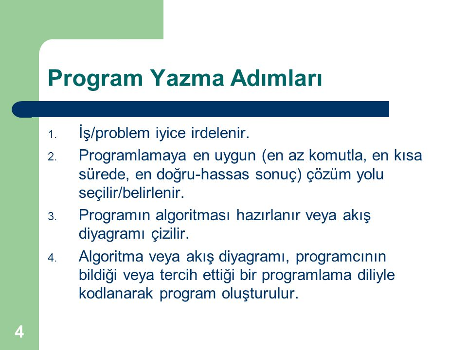 Program Yazma Adımları