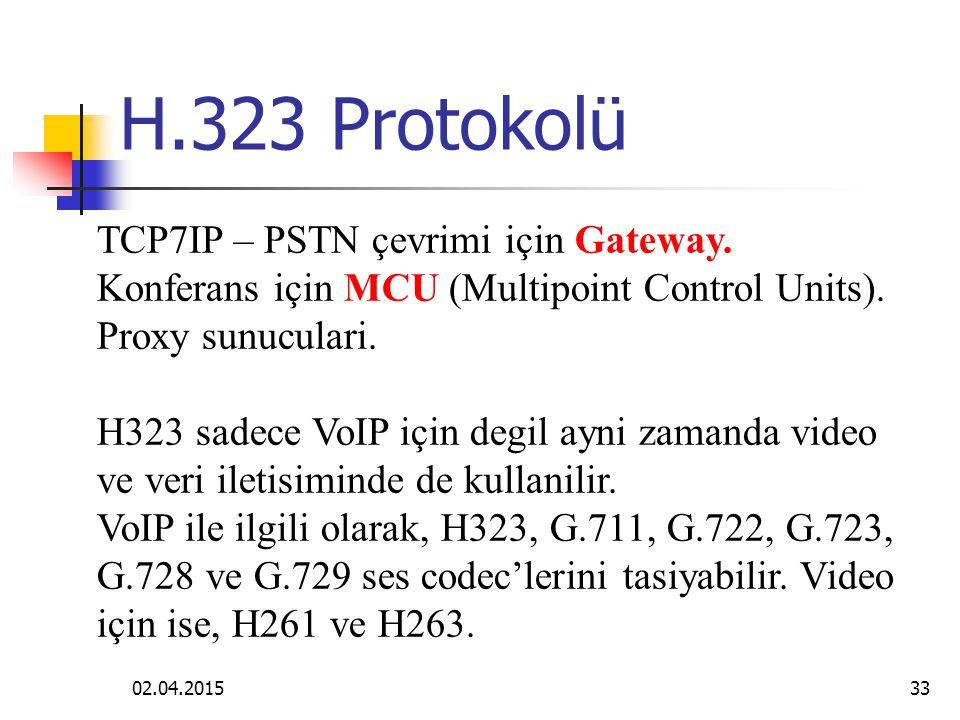 H.323 Protokolü TCP7IP – PSTN çevrimi için Gateway. Konferans için MCU (Multipoint Control Units). Proxy sunuculari.