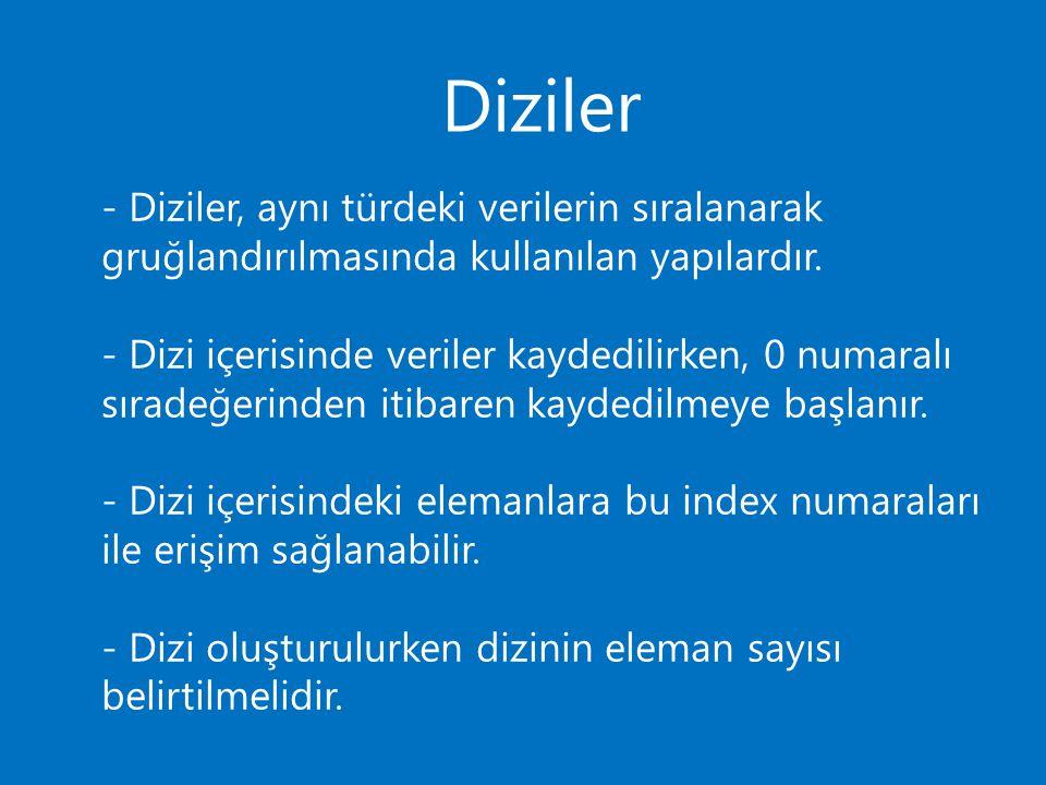 Diziler - Diziler, aynı türdeki verilerin sıralanarak gruğlandırılmasında kullanılan yapılardır.