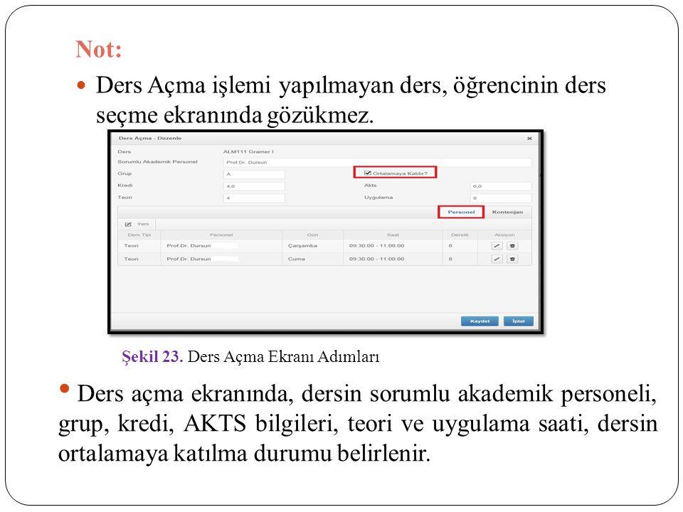 Not: Ders Açma işlemi yapılmayan ders, öğrencinin ders seçme ekranında gözükmez. Şekil 23. Ders Açma Ekranı Adımları.