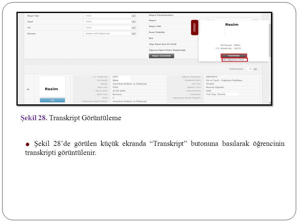 Şekil 28. Transkript Görüntüleme