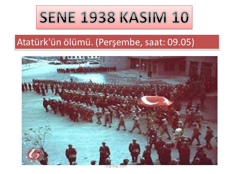 SENE 1938 KASIM 10 Atatürk ün ölümü. (Perşembe, saat: 09.05)