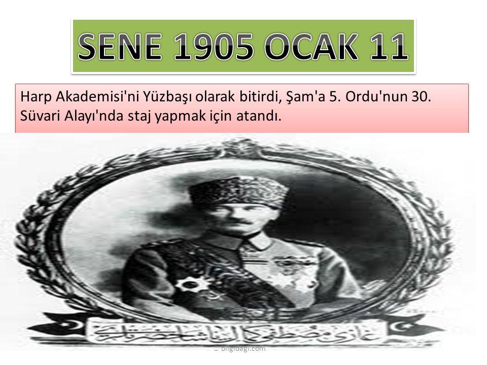 SENE 1905 OCAK 11 Harp Akademisi ni Yüzbaşı olarak bitirdi, Şam a 5. Ordu nun 30. Süvari Alayı nda staj yapmak için atandı.