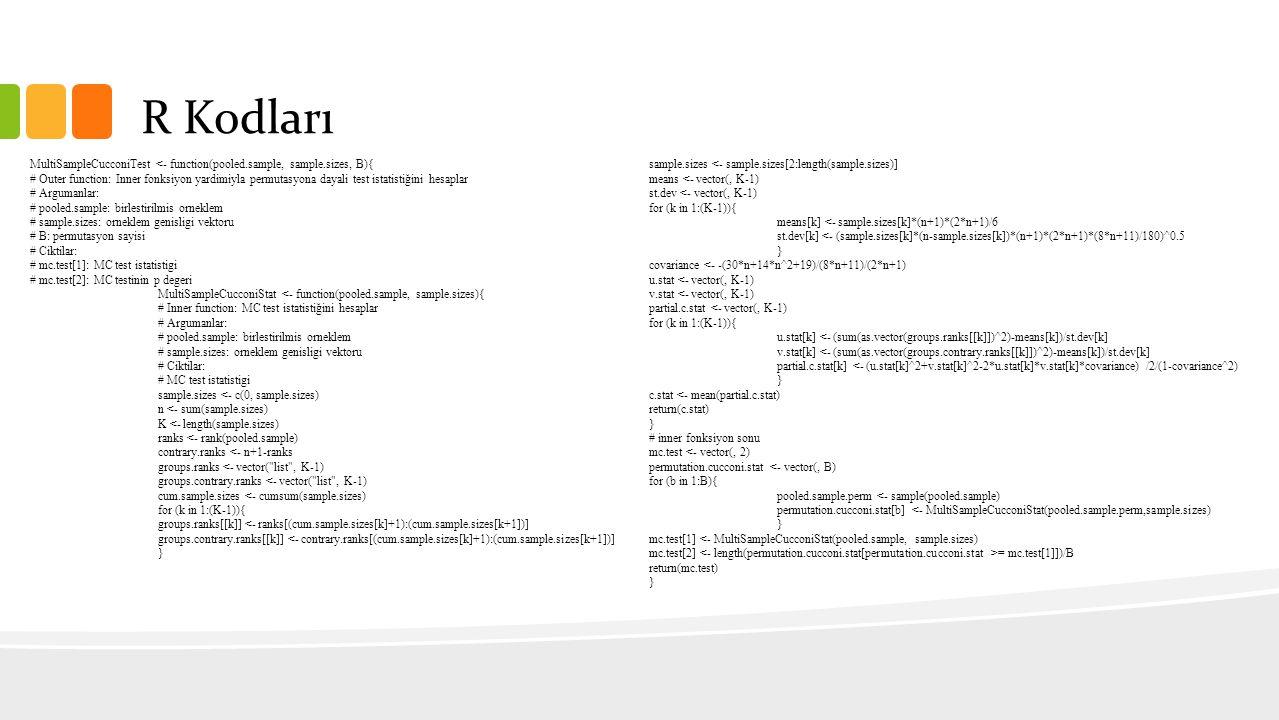 R Kodları MultiSampleCucconiTest <- function(pooled.sample, sample.sizes, B){