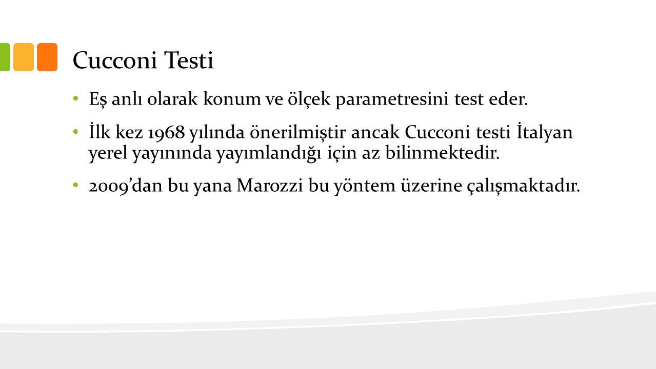 Cucconi Testi Eş anlı olarak konum ve ölçek parametresini test eder.