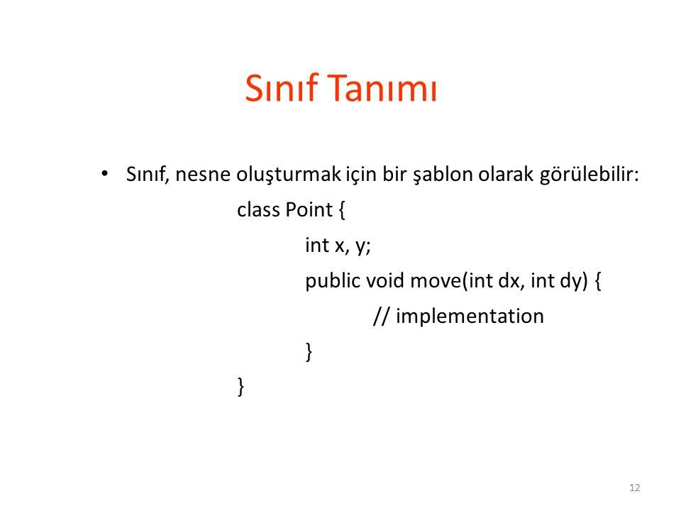 Sınıf Tanımı Sınıf, nesne oluşturmak için bir şablon olarak görülebilir: class Point { int x, y; public void move(int dx, int dy) {
