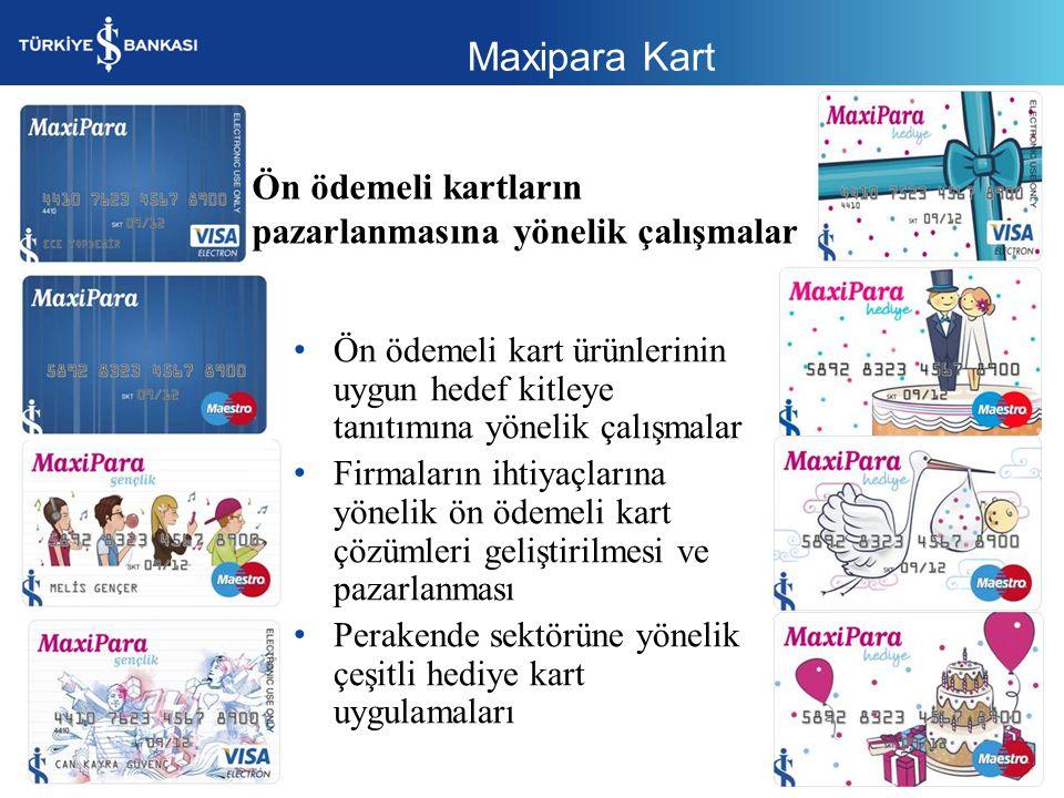 Maxipara Kart Ön ödemeli kartların pazarlanmasına yönelik çalışmalar