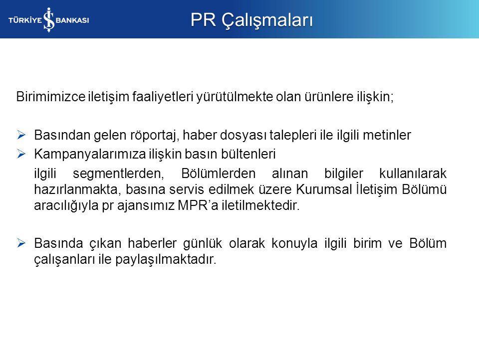 PR Çalışmaları Birimimizce iletişim faaliyetleri yürütülmekte olan ürünlere ilişkin;