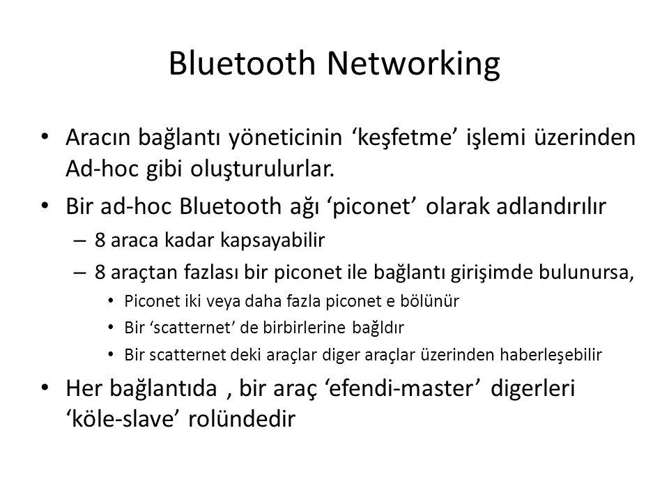 Bluetooth Networking Aracın bağlantı yöneticinin 'keşfetme' işlemi üzerinden Ad-hoc gibi oluşturulurlar.