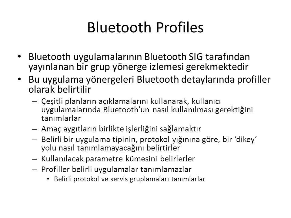 Bluetooth Profiles Bluetooth uygulamalarının Bluetooth SIG tarafından yayınlanan bir grup yönerge izlemesi gerekmektedir.