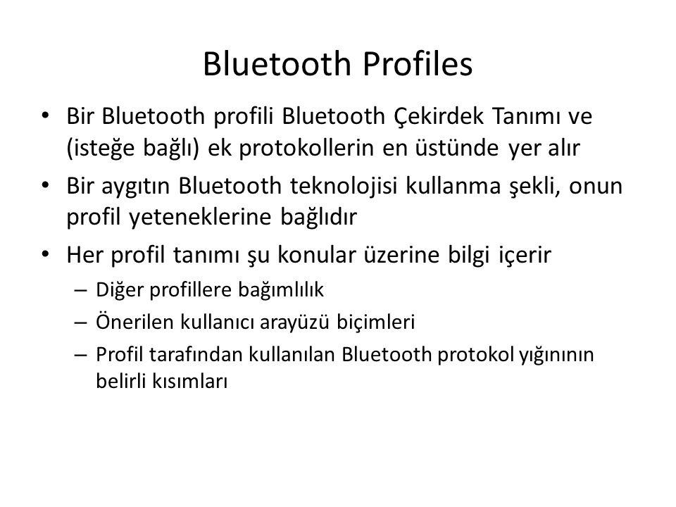 Bluetooth Profiles Bir Bluetooth profili Bluetooth Çekirdek Tanımı ve (isteğe bağlı) ek protokollerin en üstünde yer alır.