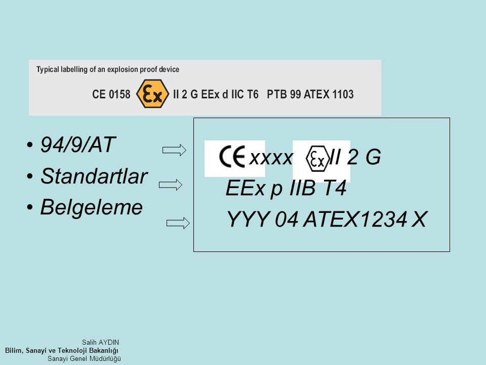 xxxx II 2 G • 94/9/AT EEx p IIB T4 • Standartlar YYY 04 ATEX1234 X