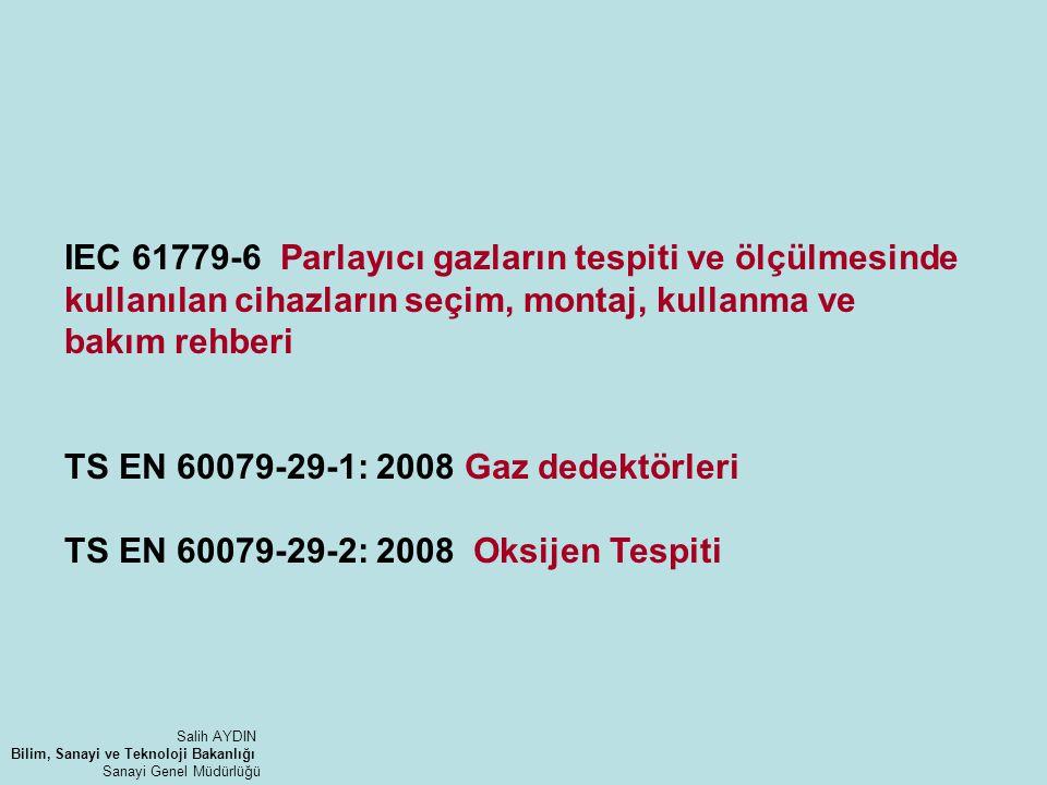 TS EN 60079-29-1: 2008 Gaz dedektörleri