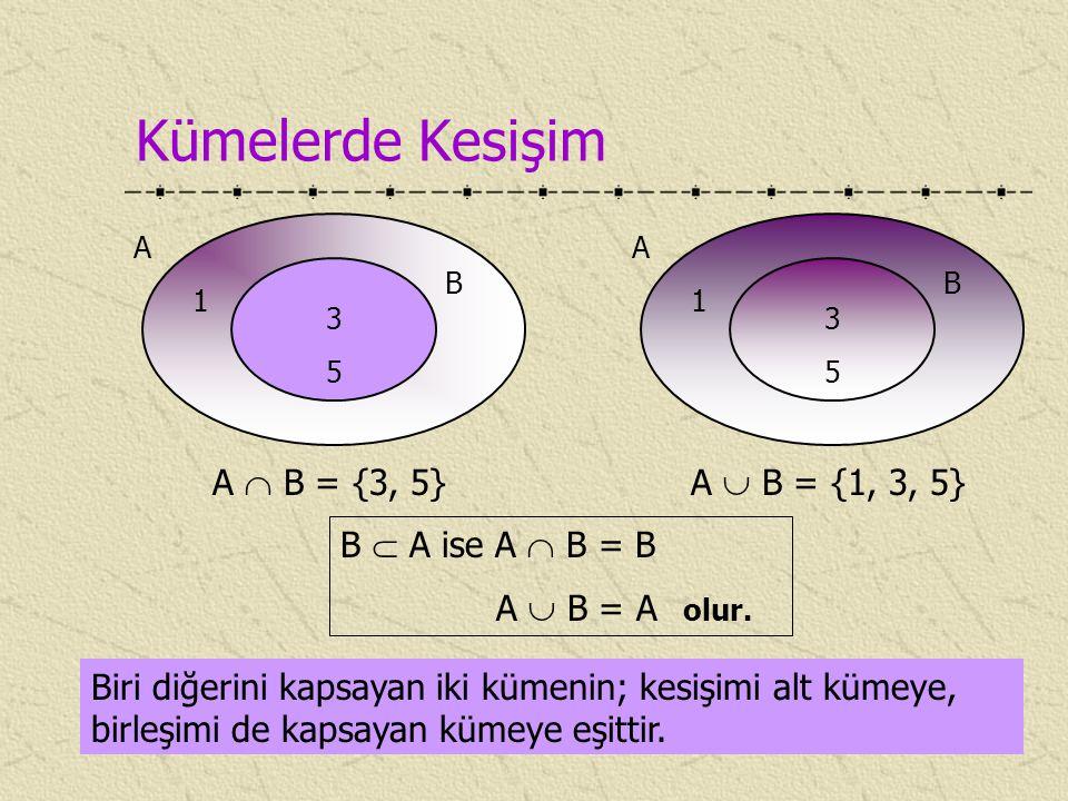 Kümelerde Kesişim A  B = {3, 5} A  B = {1, 3, 5} B  A ise A  B = B
