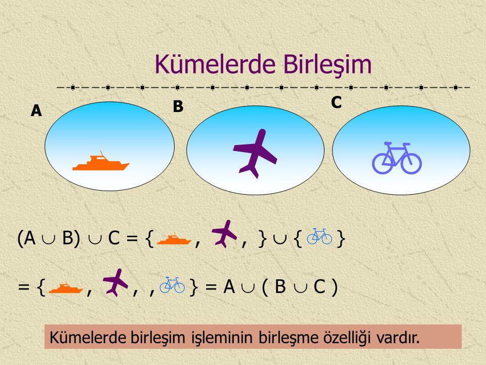 Kümelerde Birleşim C. B. A.    (A  B)  C = {, , }  {} = {, , ,} = A  ( B  C )