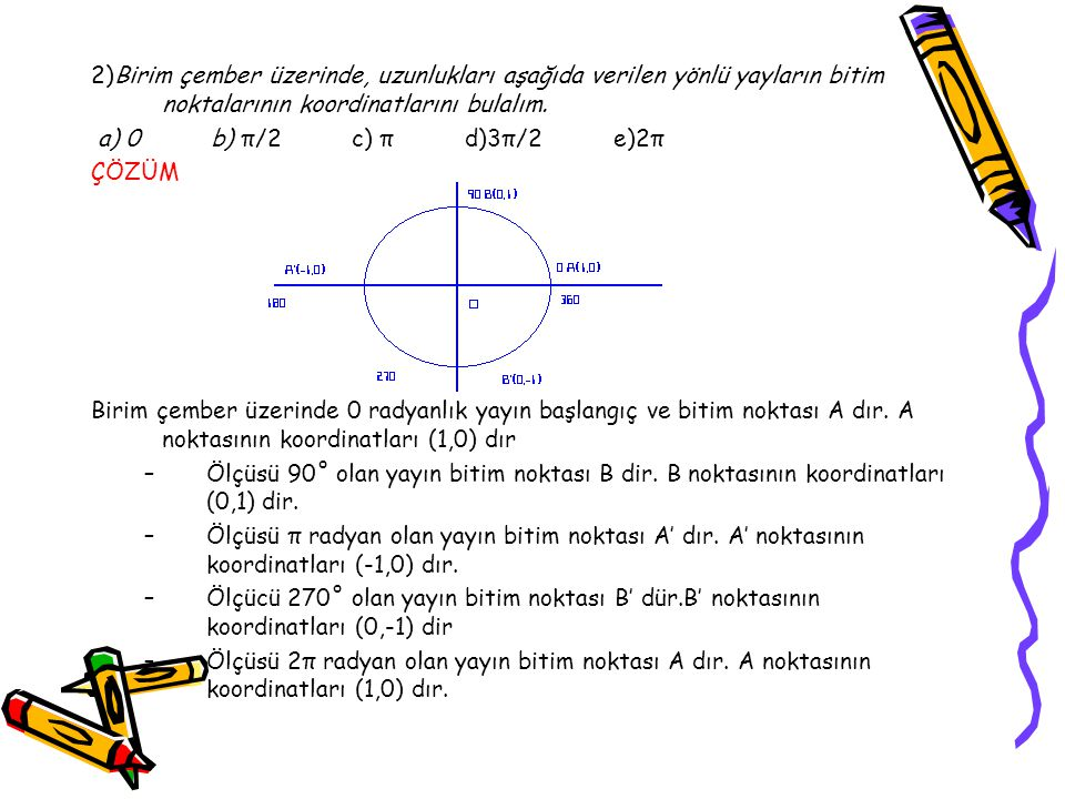 2)Birim çember üzerinde, uzunlukları aşağıda verilen yönlü yayların bitim noktalarının koordinatlarını bulalım.