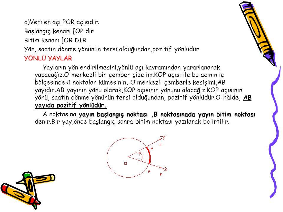 c)Verilen açı POR açısıdır.