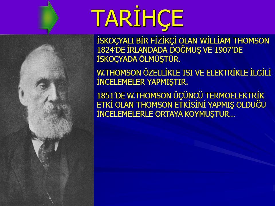 TARİHÇE İSKOÇYALI BİR FİZİKÇİ OLAN WİLLİAM THOMSON 1824'DE İRLANDADA DOĞMUŞ VE 1907'DE İSKOÇYADA ÖLMÜŞTÜR.