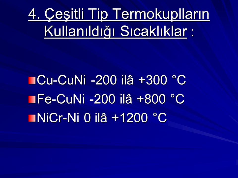 4. Çeşitli Tip Termokuplların Kullanıldığı Sıcaklıklar :