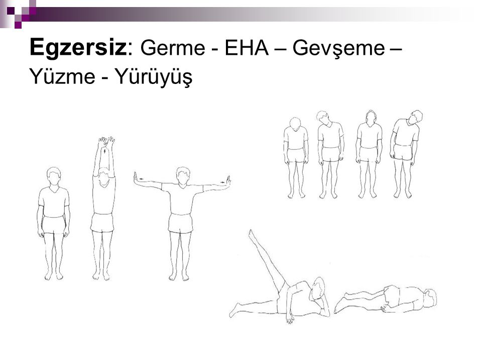 Egzersiz: Germe - EHA – Gevşeme – Yüzme - Yürüyüş