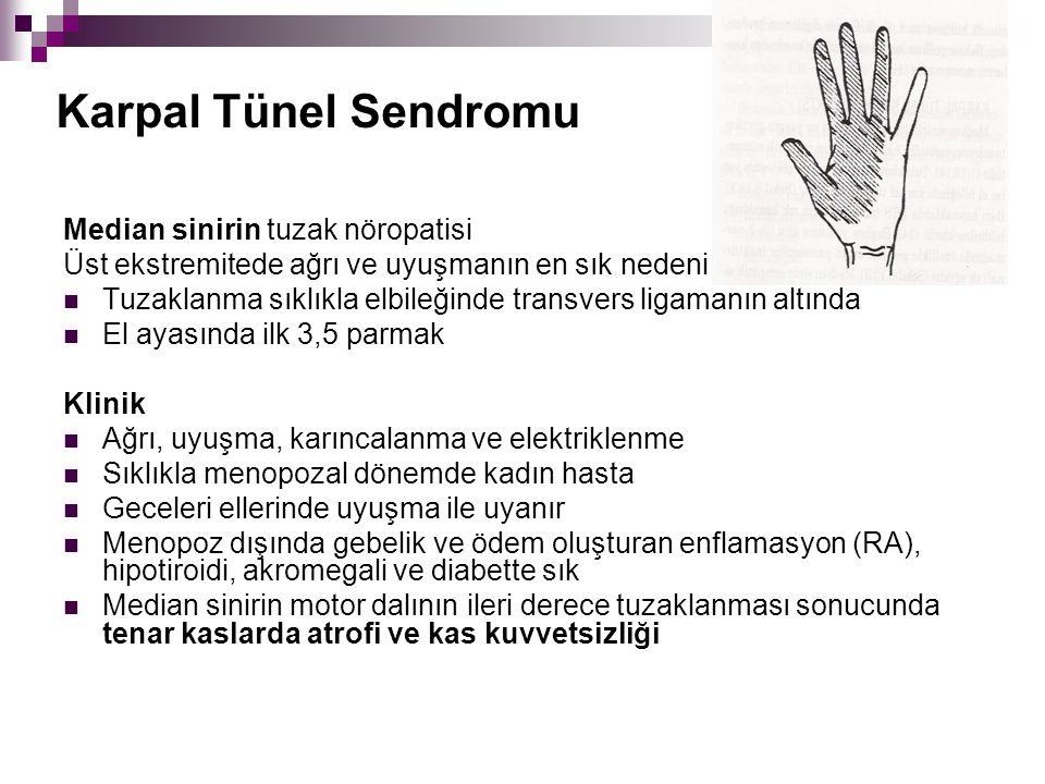 Karpal Tünel Sendromu Median sinirin tuzak nöropatisi