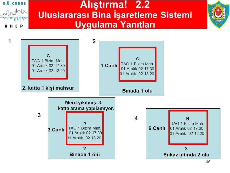 Alıştırma! 2.2 Uluslararası Bina İşaretleme Sistemi Uygulama Yanıtları