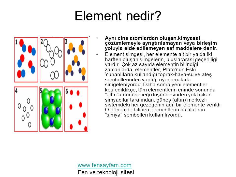 Element nedir www.fensayfam.com Fen ve teknoloji sitesi