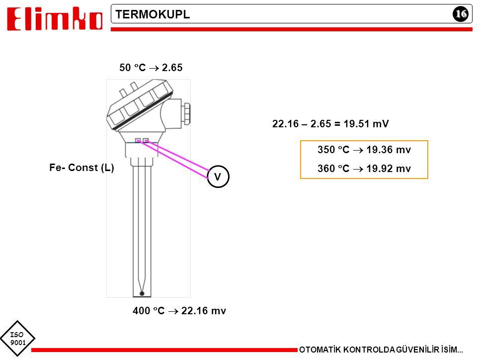 TERMOKUPL 16 50 C  2.65 22.16 – 2.65 = 19.51 mV 350 C  19.36 mv