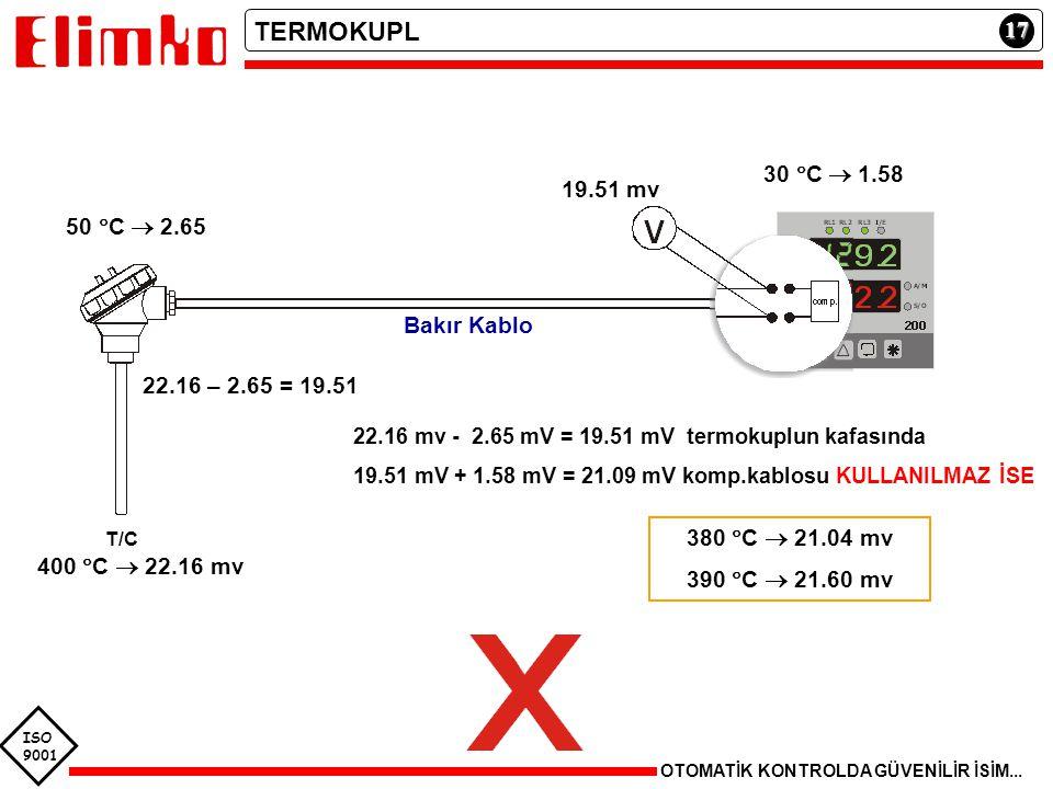 T/C TERMOKUPL 17 30 C  1.58 19.51 mv 50 C  2.65 Bakır Kablo