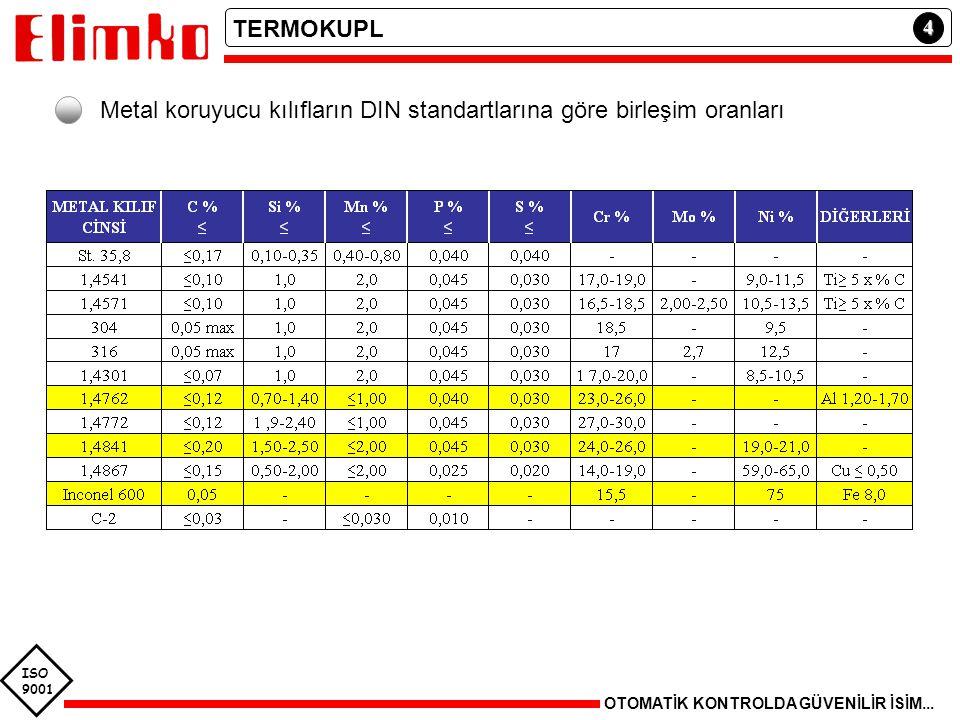 Metal koruyucu kılıfların DIN standartlarına göre birleşim oranları