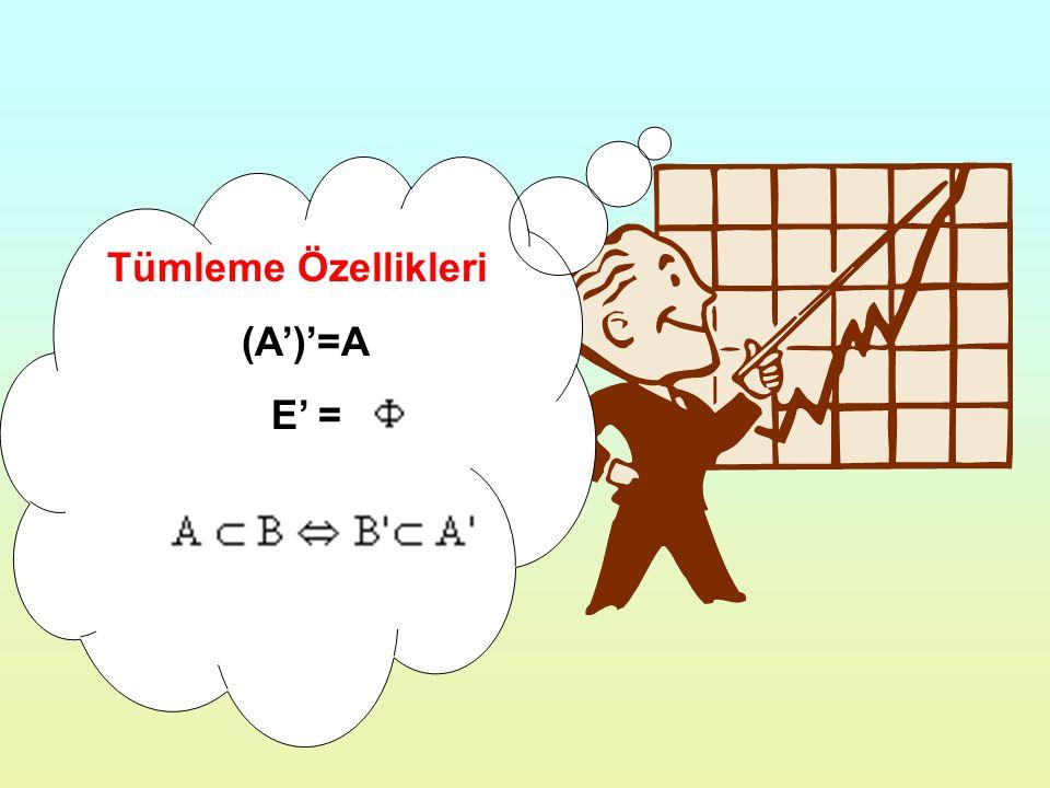 Tümleme Özellikleri (A')'=A E' =
