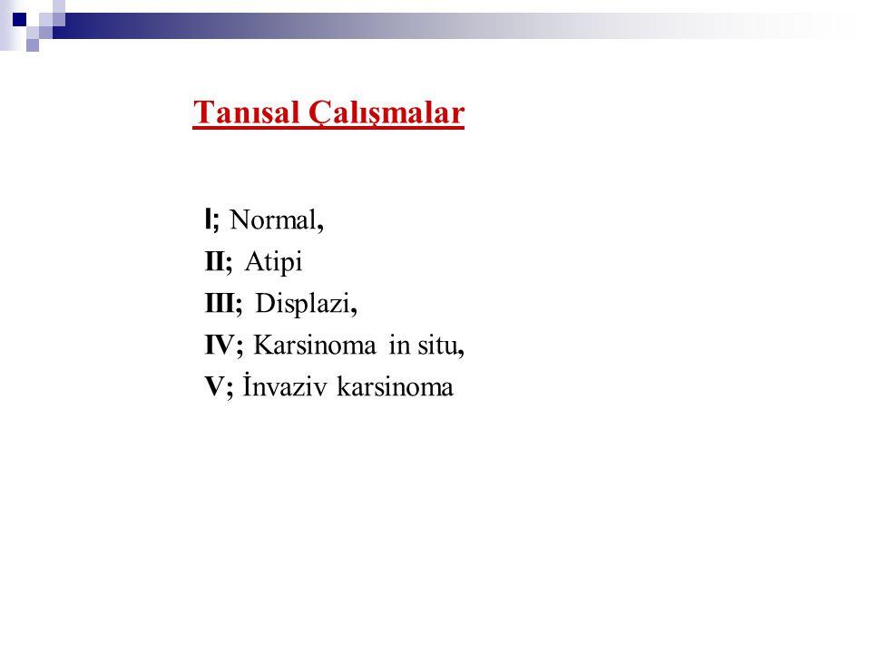 Tanısal Çalışmalar I; Normal, II; Atipi III; Displazi,