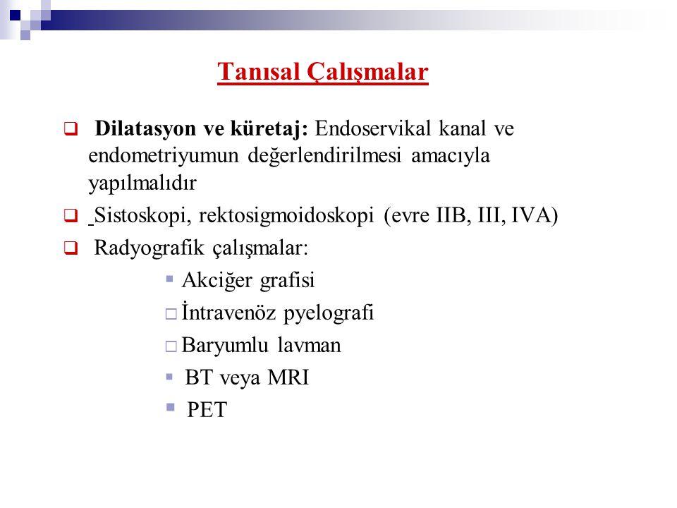 Tanısal Çalışmalar Dilatasyon ve küretaj: Endoservikal kanal ve endometriyumun değerlendirilmesi amacıyla yapılmalıdır.